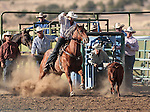 Colt Capurro competes in the calf-roping event at the Minden Ranch Rodeo action Saturday, July 21, 2012..Photo by Cathleen Allison