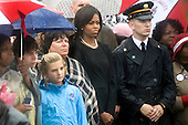 Washington, DC - September 11, 2009 -- First lady Michelle Obama attends the commemoration ceremony marking the eighth anniversary of the terrorist attacks that killed 59 passengers onboard hijacked American Airlines flight 77 crashing it into the Pentagon killing 125 inside..Mandatory Credit: Chad J. McNeeley - DoD via CNP