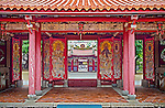 Door Gods -- Four Heavenly Kings and Two Great Protectors -- in Kai Yuan Temple's traditional sanchuan gate. From left to right; Guang Mu, Chi Guo , Skanda, Garan,  Duo Wen and Zeng Zhang. Kai Yuan Buddhist Monastery, Tainan City, Taiwan