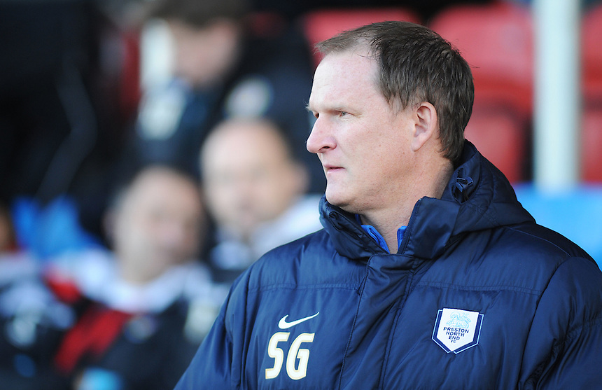 Preston North End manager Simon Grayson before kick-off<br /> <br /> Photographer Kevin Barnes/CameraSport<br /> <br /> Football - The Football League Sky Bet League One - Crewe Alexandra v Preston North End - Sunday 28th December 2014 - Alexandra Stadium - Crewe<br /> <br /> &copy; CameraSport - 43 Linden Ave. Countesthorpe. Leicester. England. LE8 5PG - Tel: +44 (0) 116 277 4147 - admin@camerasport.com - www.camerasport.com