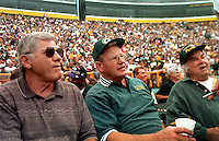 Doug Hart and Ray Nitschke during on the sidelines of Lambeau Field during the alumni game. Part of the Packers' commitment to the town involves bringing back past Packers for an Alumni appreciation day. Ray was inducted into the Pro Football Hall of Fame in 1978. He was also chosen to the NFL's All-50 Year and 75th Anniversary teams. He was All-Pro in 1964, 1965 and 1966; and selected to the Pro Bowl in 1964. Ray died in 1998 at the age of 61..