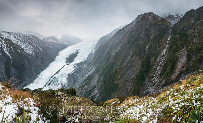 Franz Josef Glacier as seen from Castle Rock Hut on Defiance Ridge, Westland Tai Poutini National Park, UNESCO World Heritage Area, West Coast, New Zealand, NZ