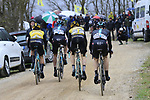 Riders climb gravel sector 8 Monte Santa Maria during the 2017 Strade Bianche running 175km from Siena to Siena, Tuscany, Italy 4th March 2017.<br /> Picture: Eoin Clarke | Newsfile<br /> <br /> <br /> All photos usage must carry mandatory copyright credit (&copy; Newsfile | Eoin Clarke)