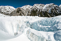 Crevasses filled with fresh dump of snow on Franz Josef Glacier, Westland National Park, West Coast, World Heritage, New Zealand