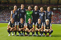 Glasgow, Scotland - July 25, 2012: The starting 11 for the US women's national team before USA's 4-2 win over France.