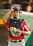 19 July 2012: Tri-City ValleyCats catcher Jobduan Morales warms up prior to a game against the Vermont Lake Monsters at Centennial Field in Burlington, Vermont. The ValleyCats defeated the Lake Monsters 6-3 in NY Penn League action. Mandatory Credit: Ed Wolfstein Photo
