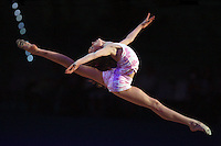 Mariya Mateva of Bulgaria (junior) split leaps during duet gala exhibition at finish of 2008 European Championships at Torino, Italy on June 7, 2008.  Photo by Tom Theobald.