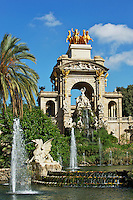 Gaudi's Cascada Fountain in Parc de la Ciutadella on a beautiful blue sky sunny day