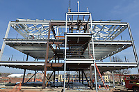 West Elevation during steel erection. Central Connecticut State University. New Academic Building. CT-DCS Project No: BI-RC-324 Architect: Burt Hill Kosar Rittelmann Associates. Contractor: Gilbane, Inc.