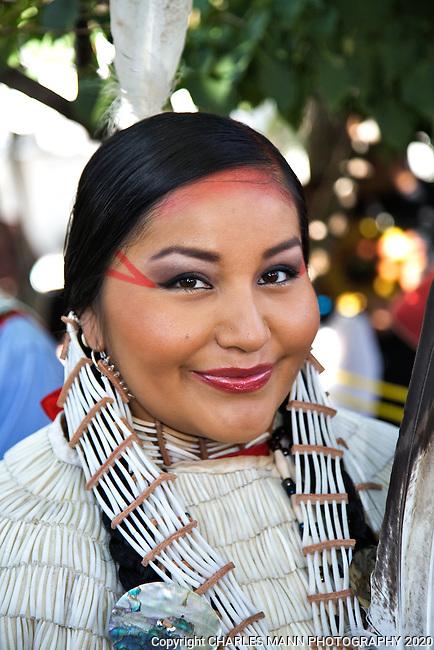 Lauren Goodday Fran, an Arikana-Blackfeet-Cree from North Dakota, waits her turn to participate in the Native American Costume Contest at  the 2009 Santa Fe Indian Market.