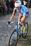 Alexis Gougeard (FRA) AG2R La Mondiale climbs Oude Kwaremont during the 60th edition of the Record Bank E3 Harelbeke 2017, Flanders, Belgium. 24th March 2017.<br /> Picture: Eoin Clarke   Cyclefile<br /> <br /> <br /> All photos usage must carry mandatory copyright credit (&copy; Cyclefile   Eoin Clarke)