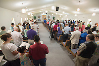 NWA Democrat-Gazette/J.T. WAMPLER -The congregation of the Fellowship Bible Church of Springdale meets for services Sunday June 7, 2015. The church celebrates its 50th anniversary this month.