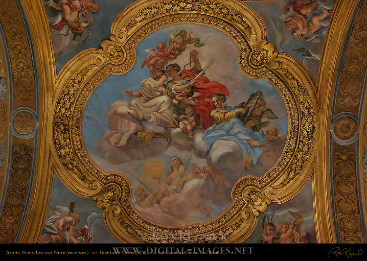 Ceiling Fresco detail 2nd vault Right Nave Justice Peace Law Truth Girolamo Troppa 1678 San Carlo al Corso Rome