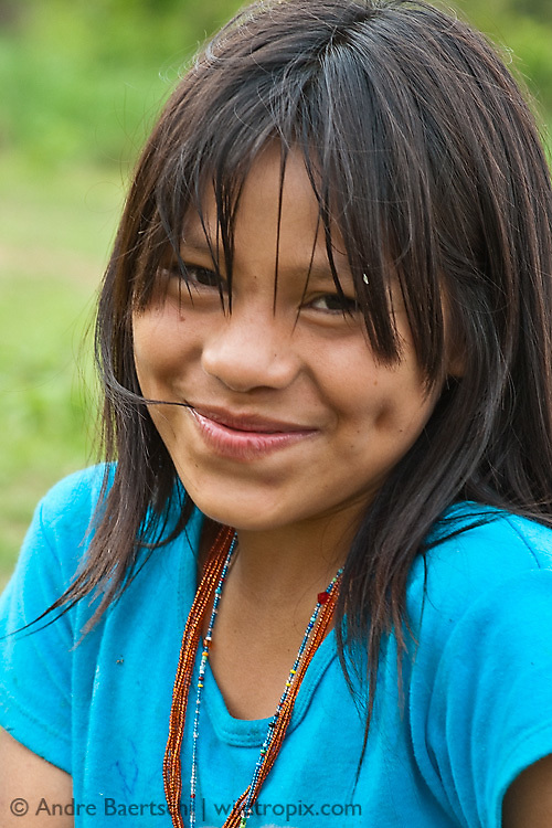 Machiguenga girl, Tayakome native communitiy, lowland tropical rainforest, Manu National Park, Madre de Dios, Peru.