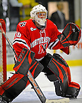 19 January 2008: Northeastern University Huskies' goaltender Mike Binnington, a Freshman from Oakville, Ontario, warms up prior to a game against the University of Vermont Catamounts at Gutterson Fieldhouse in Burlington, Vermont. The Catamounts defeated the Huskies 5-2 to close out their 2-game weekend series...Mandatory Photo Credit: Ed Wolfstein Photo