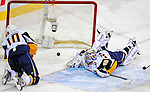 20 December 2008: Buffalo Sabres' goaltender Ryan Miller looks back at the puck in the net, however the goal as disallowed as the net had been pushed off its moorings in the overtime period against the Montreal Canadiens at the Bell Centre in Montreal, Quebec, Canada. With both teams coming off wins, the Canadiens extended their winning streak by defeating the Sabres 4-3 in overtime. ***** Editorial Sales Only ***** Mandatory Photo Credit: Ed Wolfstein Photo