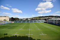 A general view of the Recreation Ground pictch. West Country Challenge Cup match, between Bath Rugby and Gloucester Rugby on September 26, 2015 at the Recreation Ground in Bath, England. Photo by: Patrick Khachfe / Onside Images