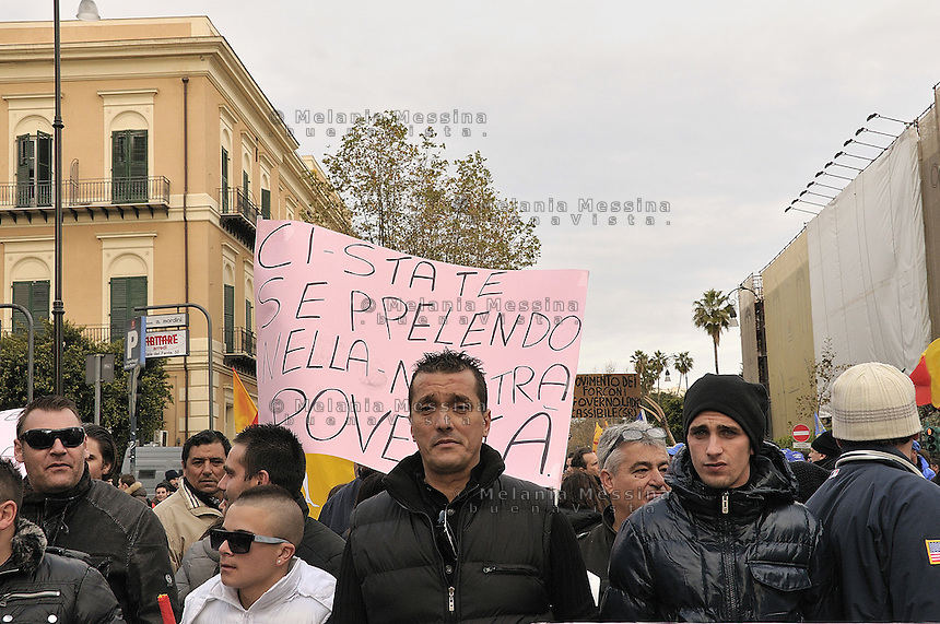 March of the so called Movement of the Pitchforks coming from all over Sicily in Palermo..Marcia di protesta del movimento dei forconi a Palermo con delegazioni provenienti da tutta la Sicilia..