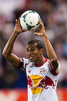Roy Miller (7) of the New York Red Bulls on a throw in. Sporting Kansas City defeated the New York Red Bulls 1-0 during a Major League Soccer (MLS) match at Red Bull Arena in Harrison, NJ, on April 17, 2013.