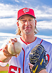 28 February 2016: Washington Nationals starting pitcher Bronson Arroyo poses for his Spring Training Photo-Day portrait at Space Coast Stadium in Viera, Florida. Mandatory Credit: Ed Wolfstein Photo *** RAW (NEF) Image File Available ***