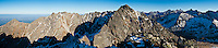 Panoramic view east towards Kozi Wierch 2291 m / 7516 ft, Tatra mountains, Poland