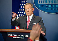 White House Press Secretary Sean Spicer conducts his Daily Press Briefing in the Brady Briefing Room of the White House in Washington, DC on Monday, April 17, 2017.<br /> Credit: Ron Sachs / CNP /MediaPunch<br /> CAP/MPI/RS<br /> &copy;RS/MPI/Capital Pictures