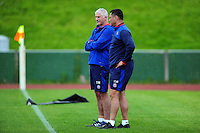 Bath Director of Rugby Todd Blackadder and Head Coach Tabai Matson look on during the pre-match warm-up. Pre-season friendly match, between the Scarlets and Bath Rugby on August 20, 2016 at Eirias Park in Colwyn Bay, Wales. Photo by: Patrick Khachfe / Onside Images