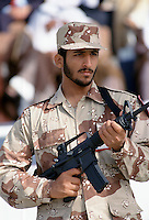 Armed solder in camouflage uniform in Abu Dhabi  for celebration of 20th Anniversary of United Arab Emirates