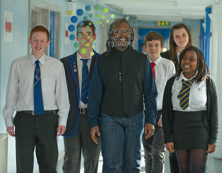 (L-R   Tony Fullerton (17) Lourdes Secondary; Max Graham (17) Holyrood Secondary; Levi Tafari; Theo Vayston (14) Hillhead High; Rachael Martin (17) All Saints High and  Alice Bakina (16) Shawlands Academy). ).  Poet Levi Tafari launches British Council's INDIE (Inclusion and Diversity in Education) guidelines and reads to pupils from 5 Glasgow Schools at Shawlands Academy on 10 March 2011, Picture: Al Goold/Universal News and Sport (Europe) 2011.