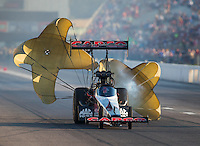 Sep 24, 2016; Madison, IL, USA; NHRA top fuel driver Steve Torrence during qualifying for the Midwest Nationals at Gateway Motorsports Park. Mandatory Credit: Mark J. Rebilas-USA TODAY Sports