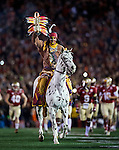 Commissioned by United Press International<br /> <br /> FSU's Osceola atop Renegade leads the Florida State Seminoles onto the field before the BCS national title game at the Rose Bowl in Pasadena, California on January 6, 2014.
