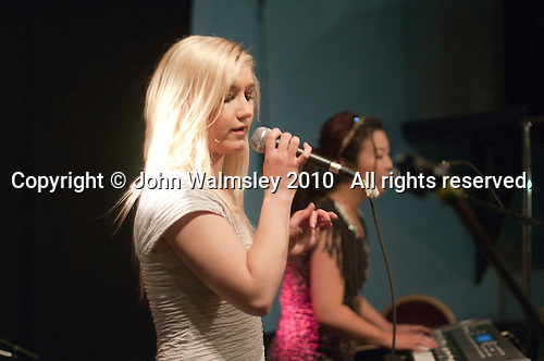 """""""Jay's Band"""" featuring Grace Churchley on vocals plus Jay Won on keyboard & vocals.  Students on the 2yrs National Diploma in Music course put on an evening of bands at the Grey Horse pub, Kingston upon Thames.  They would have organised everything themselves: marketing, DJ-ing, production and performing.  This band, """"Jays Band""""."""