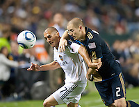CARSON, CA – April 2, 2011: LA Galaxy midfielder Bryan Jordan (27) and Philadelphia Union defender Jordan Harvey (2) battle for the ball during the match between LA Galaxy and Philadelphia Union at the Home Depot Center, March 26, 2011 in Carson, California. Final score LA Galaxy 1, Philadelphia Union 0.