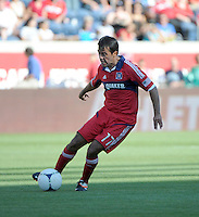 Chicago midfielder Pavel Pardo (17) kicks the ball.  The Chicago Fire defeated the New York Red Bulls 3-1 at Toyota Park in Bridgeview, IL on June 17, 2012.