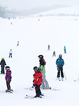 Children and adults skiing at Blue Mountain, Collingwood, Ontario, Canada alpine ski resort.