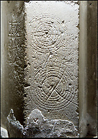 BNPS.co.uk (01202 558833)<br /> Pic: PhilYeomans/BNPS<br /> <br /> 'Witches marks' were used near the alter to trap demons in their concentric rings.<br /> <br /> Salisbury Cathedral has taken the unusual step of launching 'Grafitti Tours' of it's 800 year old building, as part of a three year project to document the thousands of examples of centuries-old 'graffiti' which adorn the walls of the 13th century cathedral.<br /> <br /> The inside of the Cathedral in Wiltshire is covered in markings etched into its fabric by fervent, desperate or just bored visitors ranging from simple inscriptions to more intricate designs used to ward off evil spirits.  <br /> <br /> Cathedral guide Steve Dunn intends to record all the marks or 'graffiti' which in some cases date back from when the cathedral was completed in 1258.<br /> <br /> Helped by about 60 volunteers, he is collating images of the graffiti and researching the story behind them.