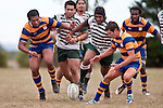 Shea Furniss tries to gather the boucing ball as Manurewa forwards burst through a lineout. Counties Manukau Premier Club Rugby game between Manurewa and Patumahoe played at Mountfort Park Manurewa on Saturday 3rd April 2010..Patumahoe won 26 - 8 after leading 14 - 3 at halftime.