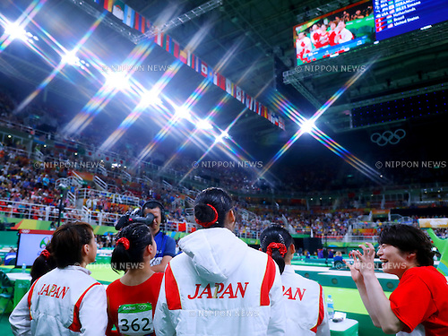 Japan Women's team group (JPN), <br /> AUGUST 9, 2016 - Artistic Gymnastics : <br /> Women's Final <br /> Balance Beam  <br /> at Rio Olympic Arena <br /> during the Rio 2016 Olympic Games in Rio de Janeiro, Brazil. <br /> (Photo by Sho Tamura/AFLO SPORT)