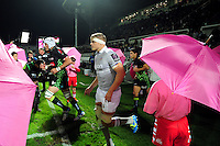 Tom Ellis and the rest of the Bath Rugby team run onto the field. European Rugby Challenge Cup match, between Pau (Section Paloise) and Bath Rugby on October 15, 2016 at the Stade du Hameau in Pau, France. Photo by: Patrick Khachfe / Onside Images