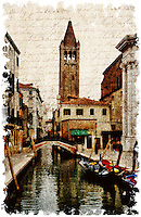 Venice, Italy 1 - Forgotten Postcard digital art collage