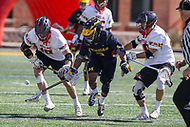 College Park, MD - April 1, 2017: Michigan Wolverines Chase Young (3) fights for the ball during game between Michigan and Maryland at  Capital One Field at Maryland Stadium in College Park, MD.  (Photo by Elliott Brown/Media Images International)