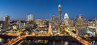 This is of our latest Austin skyline panorama taken from over the top of the Hyatt Regency Hotel in order to get the Congress Bridge and the First Street bridge over the city at night.  The cityscape along Lady Bird Lake has been changing on a yearly basis with all the latest high rise buildings.  So for now it is the latest and greatest of 2016 so far.  We were able to capture this high quality aerial image because we use a full frame camera on our drone for out still photographs so we can get the best image which can be printed easlity as a 20 x 60 or larger size without loss of resolution.