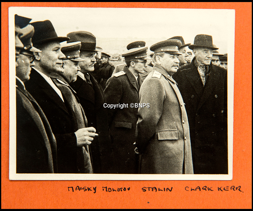 BNPS.co.uk (01202 558833)<br /> Pic: C&amp;T/BNPS<br /> <br /> Stalin and Molotov seeing Churchill off from Moscow in October 1944.<br /> <br /> A humble secretary's remarkable first hand archive of some of the most momentous events of WW2 has come to light.<br /> <br /> 'Miss Brenda Hart' worked in the Cabinet Office during the last two years of the war, travelling across the globe with the Allied leaders as the conflict drew to a close.<br /> <br /> Her unique collection of photographs and momentoes of Churchill, Stalin and other prominent Second World War figures have been unearthed after more than 70 years.<br /> <br /> The scrapbooks, which also feature Lord Mountbatten and Vyacheslav Molotov, were collated by Brenda Hart who, in her role as secretary to Churchill's chief of staff General Hastings Ismay, enjoyed incredible access to him and other world leaders.<br /> <br /> She also wrote a series of letters which give fascinating insights, including watching Churchill and Stalin shaking hands at the Bolshoi ballet in 1944, being behind Churchill as he walked out on to the balcony at the Ministry of Health to to wave to some 50,000 Londoners on VE day and even visiting Hitler's bombed out Reich Chancellery at the end of the war.<br /> <br /> This unique first hand account, captured in a collection of photos, passes, documents and letters are being sold at C&amp;T auctioneers on15th March with a &pound;1200 estimate.