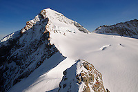Eiger Summit in snow. Top Of Europe. Bernese Oberland, swiss Alps, Switzerland.