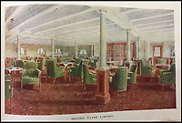 BNPS.co.uk (01202 558833)<br /> Pic: HAldridge/BNPS<br /> <br /> The second class library.<br /> <br /> Incredibly rare illustrations and photos of the opulent surroundings of the Titanic have come to light in two brochures which describe the doomed ship as 'practically unsinkable.'<br /> <br /> The colour drawings depict the plush accommodation and facilities that first and second class passengers enjoyed on the luxury liner.<br /> <br /> They offer rare glimpses of the promenade deck, reading room, swimming baths, smoking room, main staircase, the Turkish bath, state room and parlour suit accommodation, dining room and reception room.<br /> <br /> Alongside the images there is an equally scarce copy of the sailing schedule for the doomed ship, highlighting its 'lost' trans-Atlantic service.<br /> <br /> The itinerary shows the Titanic would have gone on to make four trips from Southampton to New York between April to July 1912 had it not sunk on its maiden voyage with the loss of 1,522 lives.<br /> <br /> The two brochures and sailing schedule have now been put up for sale 105 years after the tragedy. They have a pre-sale estimate of a combined &pound;20,000.
