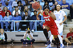 21 March 2015: Liberty's Jasmine Gardner chases a loose ball. The University of North Carolina Tar Heels hosted the Liberty University Flames at Carmichael Arena in Chapel Hill, North Carolina in a 2014-15 NCAA Division I Women's Basketball Tournament first round game.