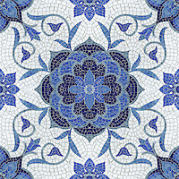 Aurelia, a hand cut jewel glass mosaic shown in Lapis Lazuli, Iolite, Mica, Absolute White, and Blue Spinel, is part of the Delft Collection by Sara Baldwin for New Ravenna Mosaics.