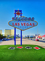 Welcome to Las Vegas sign Spade, Heart, Clubs, Diamonds in Symbols on Lawn