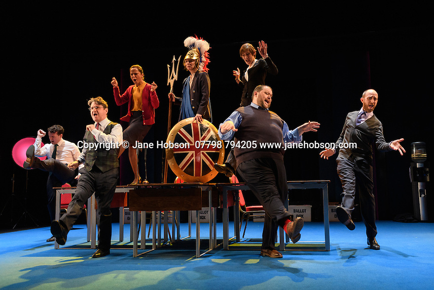 """London, UK. 02.03.2017. The National Theatre presents """"My Country; a work in progress"""", in the words of people across the UK and Carol Ann Duffy, in the Dorfman. Rufus Norris directs. Design is by Katrina Lindsay, lighting design by Paul Knott. Picture shows:  Cavan Clarke, Stuart McQuarrie, Seema Bowri, Penny Layden, Laura Elphinstone, Christian Patterson, Adam Ewan. Photograph © Jane Hobson."""