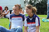 FIERLJEPPEN: GRIJPSKERK: 17-08-2013, 1e Klas wedstrijd, Hans Ulco de Boer en Klaske Nauta, ©foto Martin de Jong